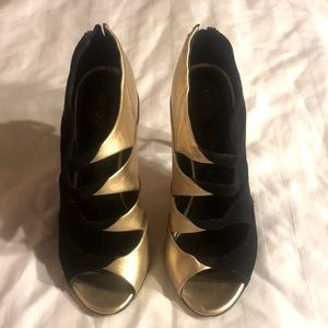 SERGIO ROSSI black & gold suede leather heels 35 5